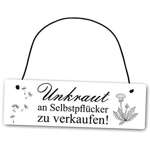 Homeyourself Metallschild Unkraut an Selbstpflücker 25 x 8 cm aus Alu Verbund (Alu, Kunststoff) für In- und Outdoor Deko Schild Dekoschild Wandschild außen und Innen