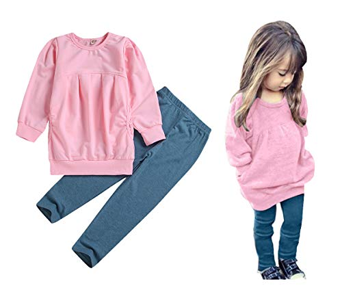 CM C&M WODRO Toddler Girls Clothes Winter Warm Long Sleeve Tops+Long Pants Set (Pink, 2-3 Years(100))