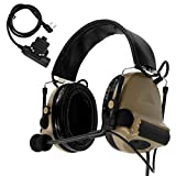 TAC-SKY COMTA II Tactical Headset Hearing Defender Noise Reduction Sound Pickup for Airsoft Sports (Tan)