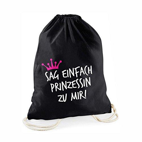 Statement-Turnbeutel Sag einfach Prinzessin zu Mir! - Gym-Bag Rucksack Hipster Beutel mit Spruch Tasche Jutebeutel Gymsac Sportbeutel