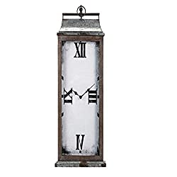 CC Home Furnishings 41 Distressed Brown and White and Gray Rectangular Shaped Wall Clock