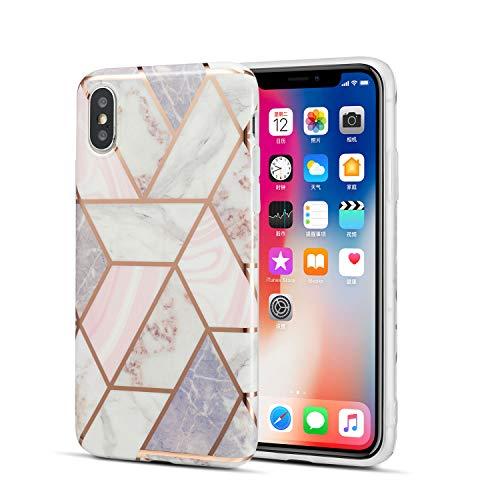 DEFBSC Hülle für iPhone X/iPhone XS Marmor Handyhülle Marmor-Design Anti-Shock Soft TPU Bumper Handytasche Schutzhülle Back Cover für iPhone X/iPhone XS