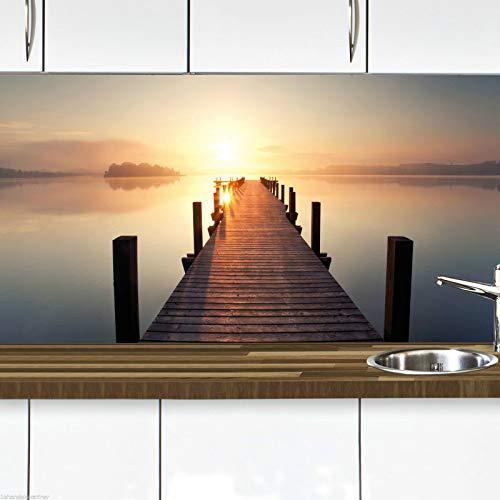 KLINOO Küchenrückwand als Spritzschutz - Wandschutz - alle Untergründe (verdeckt Fugen) - zuschneidbar/erweiterbar - geruchsneutral - wiederablösbar - 96cm x 68cm (Sonnenuntergang)