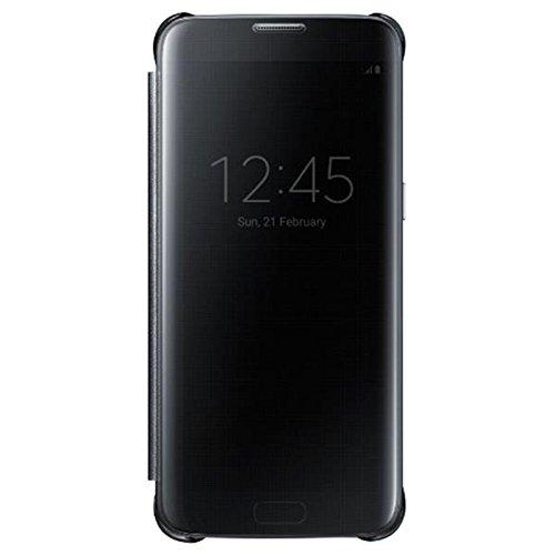 Samsung Galaxy S7 Edge Clear Semi-Opaque Flip View Custodia, Nero