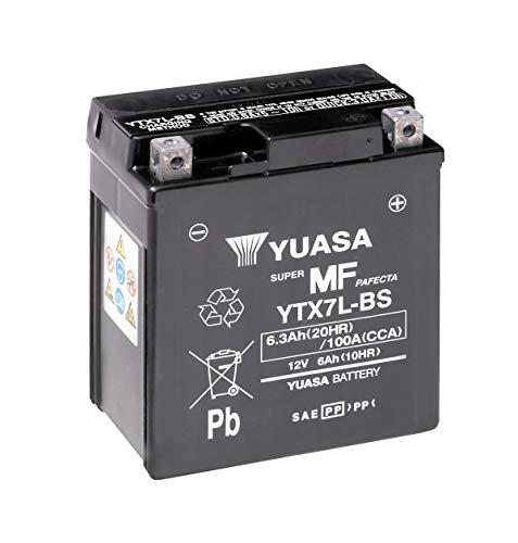 Batería moto Yuasa YTX7L-BS - Sin mantenimiento - 12 V 6 Ah - Dimensiones: 114 x 71 x 131 mm compatible con SUZUKI GZ250 Marauder 250 1999-2010