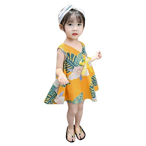 Mädchen Kleinkind Baby Sommer Kinder Kleider Ärmel Strand Strampler Tops Blumen Geraffte Overall Prinzessin Print Lace Tutu Party Outfits Sets Kleidung Kleid (Alter: 2-3 Jahre, Gelb)