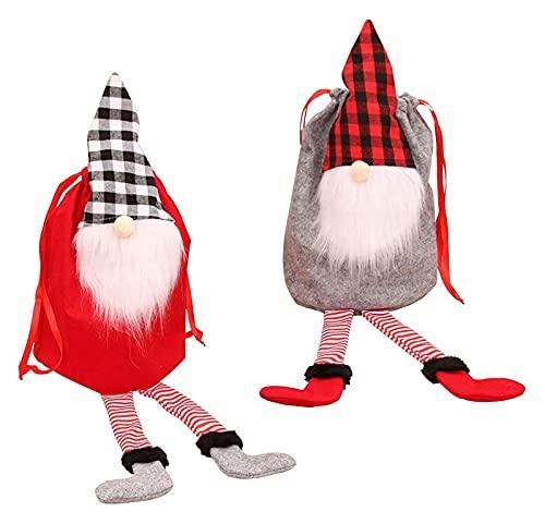 Bolsos De La Franela De Navidad 2 Paquetes De Algodón Puro Bolsos De Navidad Con Cordón Bolsas De Regalo De Dibujos Animados Caramelo Bolsas De Asas Joyería Bolsas De Caramelo Bolsas De Decoración De