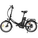 ANCHEER 20' Folding Electric Bikes for Adults, 350W Brushless Rear Motor 36V 10Ah Removable Battery Shimano 7-Speed, 20 inch Foldable E-Bike Cruiser up to 20mph (20' Folding Cruiser-Black)