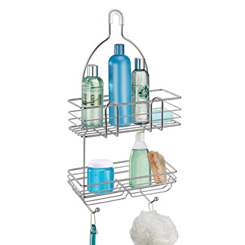 BBLHOME Wire Hanging Shower Caddy with Hooks Extra Wide Space for Shampoo Conditioner Razors Towels and More Bathroom Storage Organizer ShelfsFits Most Shower Heads