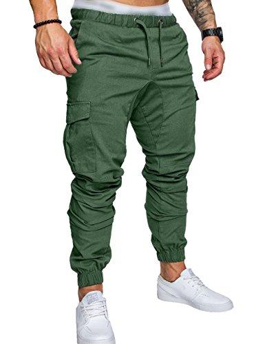 SOMTHRON - Pantaloni da uomo elasticizzati, vita bassa, in cotone, per jogging verde M