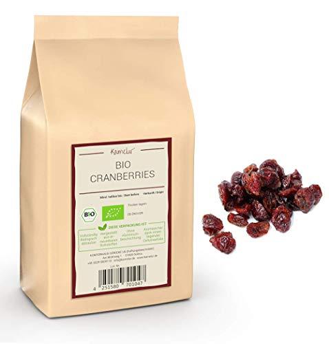 Canneberges BIO séchées - 1kg - cranberry sechees sans sucre, avec la douceur naturelle du jus de pomme - fruit sec de qualité supérieure
