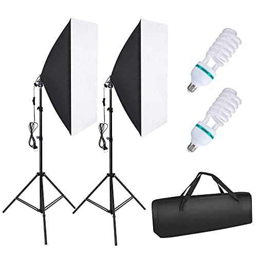 OMBAR Softbox Set Fotostudio 2×50×70cm, professionelle Fotografie mit 2×135 W 5500K E27-Tageslichtlampe und Tragetasche für Studio-Porträts Videoaufnahmen, Modefotos.