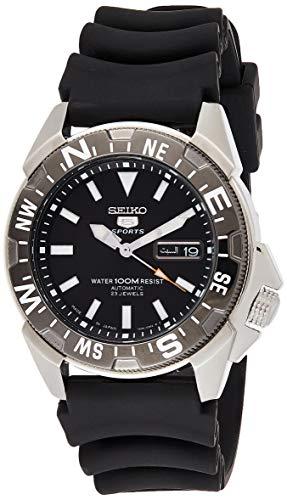 Relógio masculino Seiko 5 automático SNZE81K2 de borracha preta e quartzo