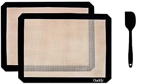 2 Pcs Tapetes de Silicona para Hornear, 42cm*29.5cm×2 Lámina de Horno Estera de Horno Reutilizable Antiadherente Antideslizante Lavable, Alfombra de Horno para Hornear