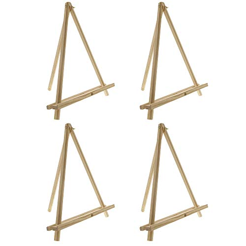 "U.S. Art Supply 12"" High Natural Wood Display Stand A-Frame Artist Easel (Pack of 4) - Adjustable Wooden Tripod Tabletop Holder Stand for Canvas, Painting Party, Kids Crafts, Photos, Pictures, Signs"