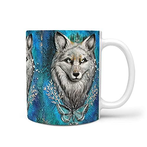 OwlOwlfan Taza de cerámica con diseño de mariposa de lobo con asa para café, bar, cumpleaños, festival, regalo para mujeres y hombres, color blanco 11 oz