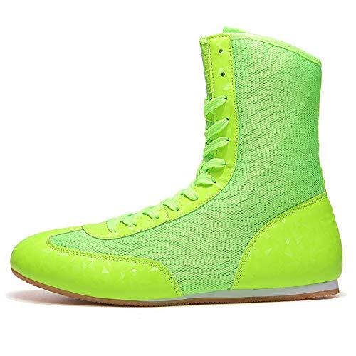 FJJLOVE Zapato De Boxeo, Zapatos De Lucha Libre De Alto Nivel Unisex Non-Slip Confort Boxing Boots Lightweight Boxers Transpirable Zapato De Entrenamiento para Niños Niña Mujeres Hombres,Verde,40