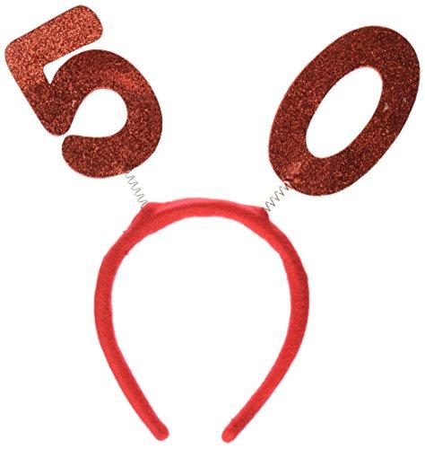 Beistle 60590-50 Serre-tête pailleté en Tissu Rouge 127 cm
