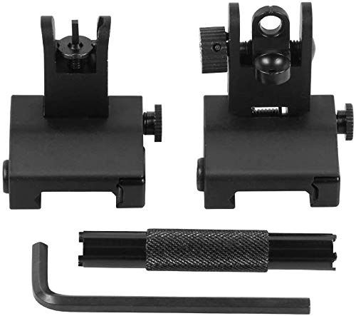 Gogoku Flip Up Iron Sight Front Rear Sight Compatible for Picatinny Rail and Weaver Rail Foldable Sights (Shap A +Adjustment Tool)