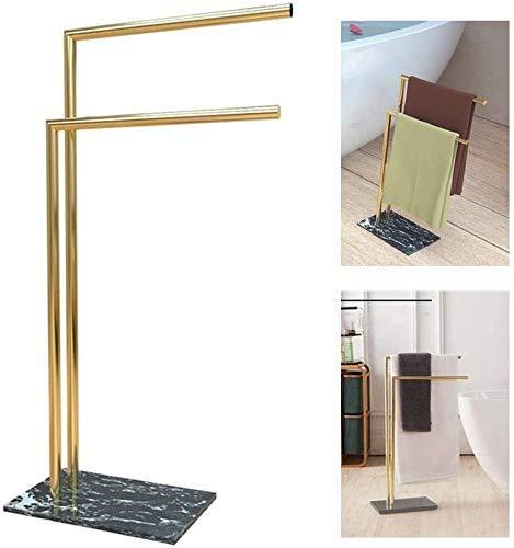 Cxcdxd Suerte toallero de pie con 2 brazos, toallero para toallas de baño o ducha hecho de titanio chapado en cobre, base de mármol