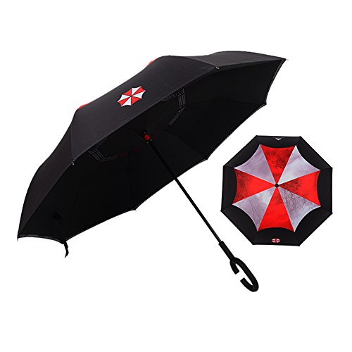 Paraguas invertido, Resident Evil Biohazard elover doble capa Reverse paraguas para lluvia de coche al aire libre