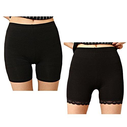 Liang Rou Spandex Mujeres Leggings Cortos Encaje Recorte 2-Pack