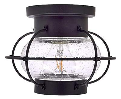 SYLVANIA General Lighting Sylvania 75515 Essex Cage Light Vintage Fixture, LED, Semi-Flush Mount, Dimmable Bulb Included, Antique Black
