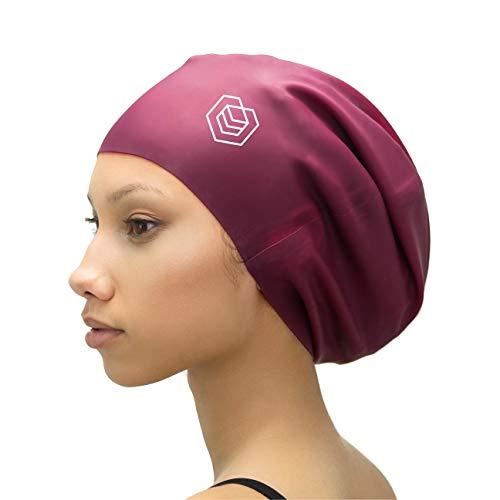 SOUL CAP XXL – Extra Extra Large Swimming Cap - Designed for Long Hair, Dreadlocks, Weaves, Hair Extensions, Braids, Curls & Afros - Women & Men - Premium Silicone (Burgundy)