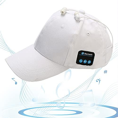 Gorro Bluetooth, Gorra de Música Bluetooth, Gorra de Béisbol Sonido HD, Espera Larga, Sombrero para Sol, Regalos Cumpleaños para Amigos, Familias,Blanco