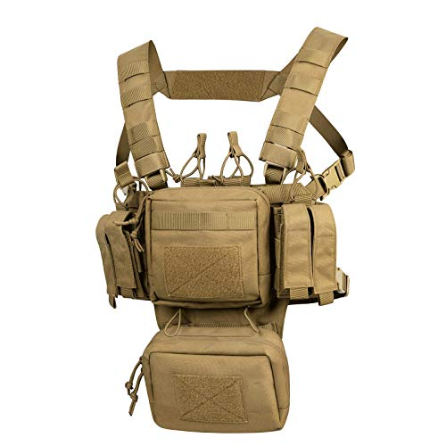 VISMIX Tactical Chest Rig, Adjustable & Detachable Recon Chest Rig Molle Military Chest Bag Pack with Magazine Pouch for Men Hunting Shooting