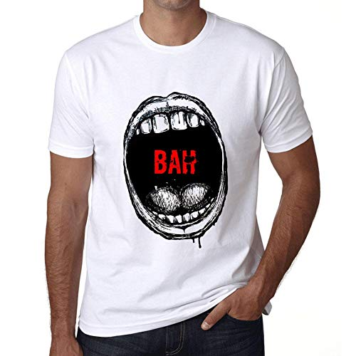 Hombre Camiseta Vintage T-Shirt Gráfico Mouth Expressions Bah Blanco