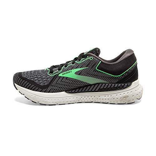 Brooks Womens Transcend 7 Running Shoe - Black/Ebony/Green - B - 10.5