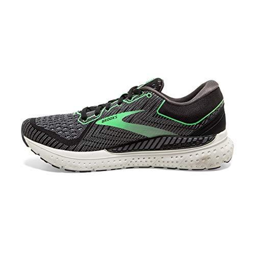 Brooks Womens Transcend 7 Running Shoe - Black/Ebony/Green - B - 8.5