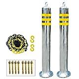 2 bolardos metalicos y cadenas de plástico 5 m, postes de seguridad de acero inoxidable y juego de cadenas de plástico barreras de cinta reflectante con anillo para colgar fácil insta(Size:750mm×76mm)