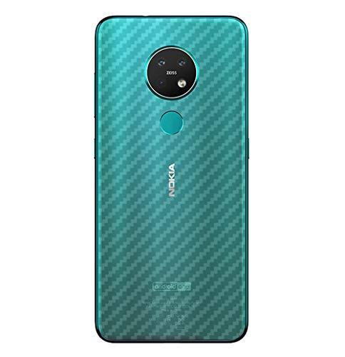 NOKOER Schutzfolie Rückseite Folie für Nokia 7.2, [3 Stück] 0.1mm Superdünn Carbon Muster Rückseite Folie, Kratzfest Anti Fingerabdruck rutschfest