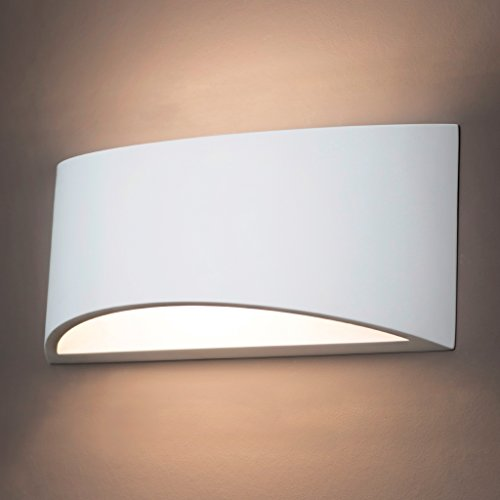 Gipswandleuchte von Activled Gipsleuchte AL-GL8512 im modernen Design in Wandfarbe überstreichbar E14 bis 40W 230V 50Hz Ideale Wandleuchte für Wohnzimmer Flur und Diele