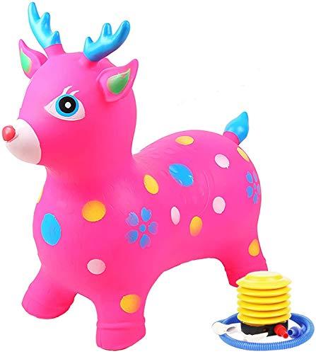 Caballo de Salto de Animal para Niños Bomba de Salto para Caballos Contiene Juguetes Inflables para Niños con Gorila de Caballos con Mejor Goma Ecológica (Color : Pink)