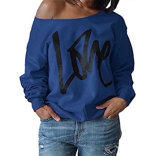 Sudaderas casuales para mujer Camisas de manga larga Tops con hombros descubiertos Jersey con estampado de LOVE Cuello redondo ligero Camiseta Casual Primavera Verano Otoño Túnica Sudadera superior