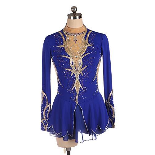 LYABANG Vestido De Patinaje Artistico Maillot De Danza Ballet Manga Larga Disfraz Bailarina para Niñas Mujeres Maillot De Ballet Vestido Tutú Leotardo Body De Gimnasia Rítmica,Blue-XL