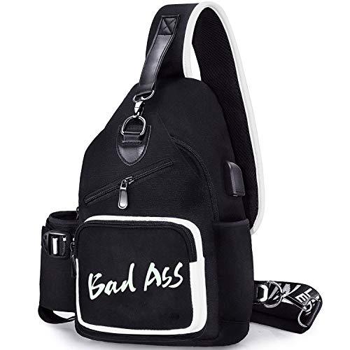FEWOFJ Bandoleras de Hombre Niños, Sling Bag Bolsa de Pecho Bolsos Cruzados (Bad Ass)