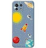 Funda Silicona Líquida Azul para Xiaomi Mi 11 Lite 4G / 5G diseño Espacio Dibujos