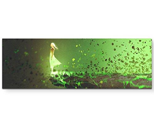 Paul Sinus Art Leinwandbilder | Bilder Leinwand 120x40cm Illustration – Frau am Abgrund