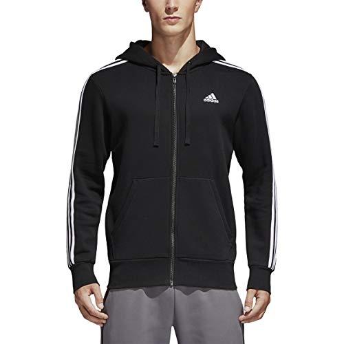 adidas Men's Essentials 3-Stripe Full Zip Fleece Hoodie, Black/White, Large