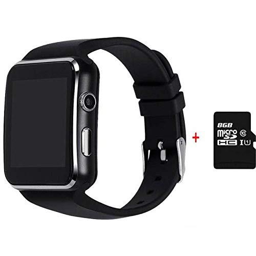 YUYLE Smartwatches Bluetooth Smart Watch Android Anti-verloren synchronisatie melding smartwatch ondersteuning SIM-TF-kaart voor Huawei Xiaomi Samsung, Schwarzmit8GB