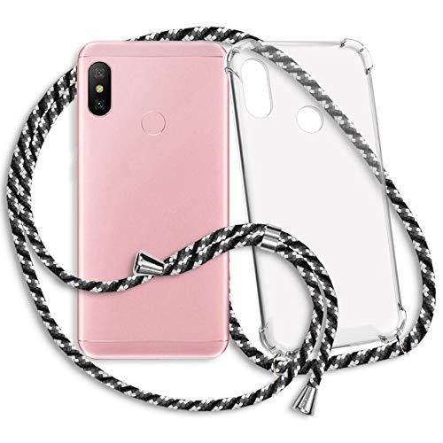 mtb more energy® Collar Smartphone para Xiaomi Redmi Note 6 Pro (6.26'') - Camuflaje Blanco - Funda Protectora ponible - Carcasa Anti Shock con Cuerda