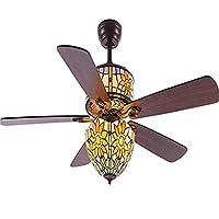 ティファニースタイルの天井ファンライト5プレミアムリバーシブルウッドブレードとリモート屋内ファンシャンデリアファンLED静かなファンランプ