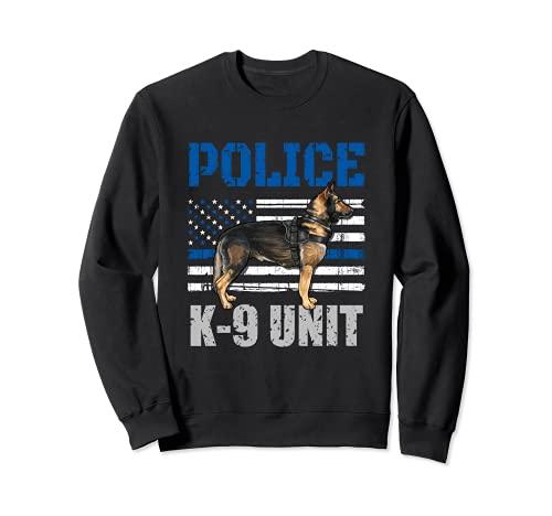 Disfraz de polica K-9 unidad camisa delgada lnea azul oficial perro Sudadera