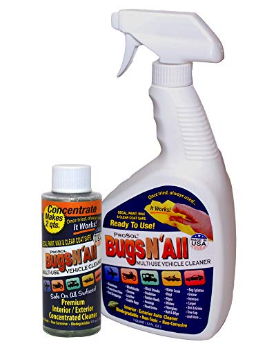 Bugs N All - Best All Purpose Interior & Exterior Vehicle Cleaner & Bug Remover. 4oz. Concentrate Makes 2 Quarts. Includes: Empty 1 Qt. Spray Bottle - Safe on Wax, Clear Coat, Paint & Decals.