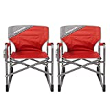MacSports MacRocker Outdoor Foldable Rocking Chair   Portable, Collapsible, Springless Rockers with Rust-Free Anti-Tip Guards for Camping Fishing Backyard   Red (2 Pack)