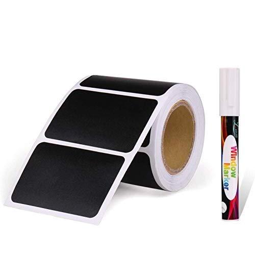 joyoldelf 150pcs Kit dEtiquette Autocollantes Réutilisables pour la Cuisine Organiser avec Marqueurs Craie Liquide, Étiquette Tableau Noir Amovible pour Décorer Votre Cuisine Pièce de Rangement
